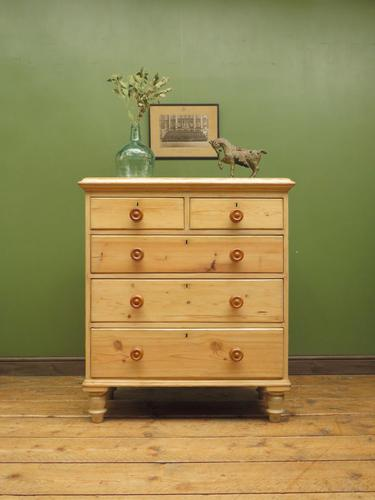 Large Antique Victorian Stripped Pine Chest of Drawers (1 of 14)
