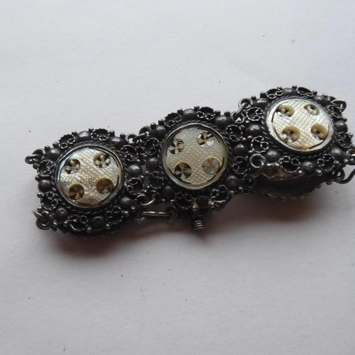 Silver Bracelet .925 with Hand Carved MOP Crosses (1 of 10)