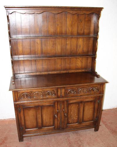 1960s Carved Golden Oak Dresser with Display Rack (1 of 6)