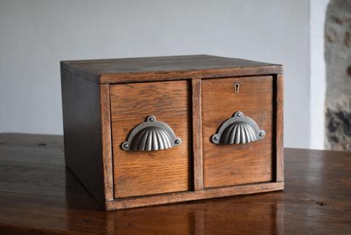 Vintage Mid Century Industrial Oak Bank of Two Drawers (1 of 10)