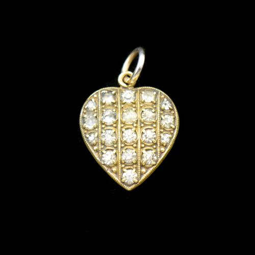 Antique Old Cut Paste Rolled Gold Puffy Heart Pendant Charm (1 of 8)