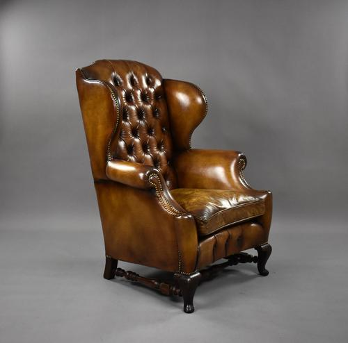 19th Century Victorian Hand Dyed Brown Leather Wing Back Armchair (1 of 9)