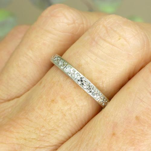 Antique Art Deco platinum diamond full eternity wedding band c1920's ~ Size Q / 8 (1 of 10)