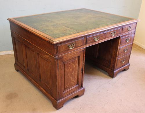 Antique Oak Partners Writing Desk (1 of 10)