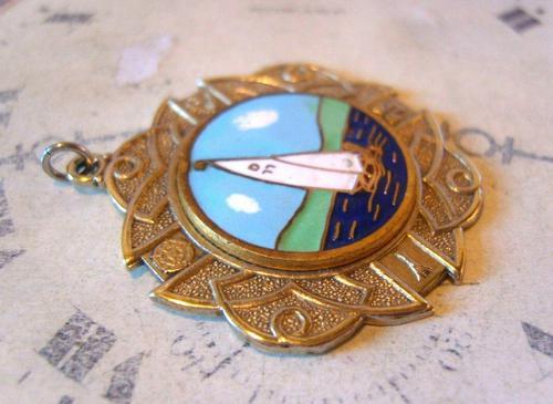 Vintage Pocket Watch Chain Fob 1940s Golden Gilt & Coloured Enamel Sailing Boat Fob (1 of 6)