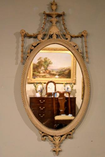 19th Century Oval Painted Mirror (1 of 3)