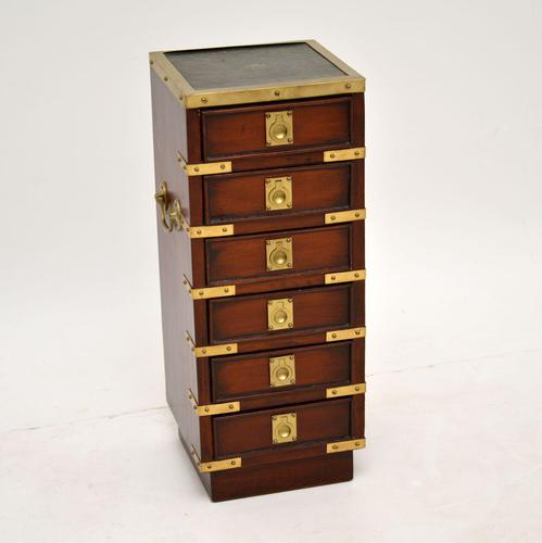 Antique Military Campaign Style Mahogany Miniature Chest of Drawers (1 of 12)