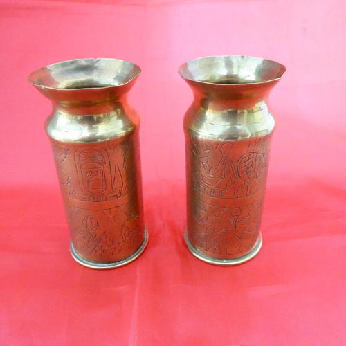 Unusual WW1 Pair of Small Trench Art Vase (1 of 2)