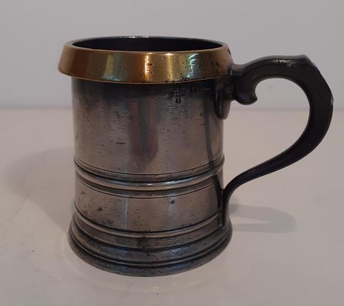Victorian Pewter Tankard with a Brass Rim (1 of 3)