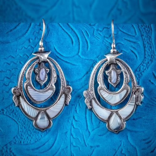 Antique Victorian Scottish Montrose Agate Earrings Silver c.1860 (1 of 6)