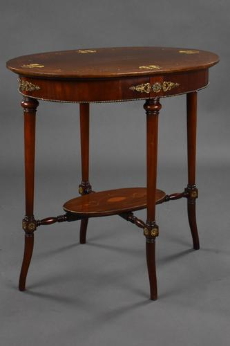 Edwardian Mahogany Inlaid Oval Occasional Table (1 of 9)