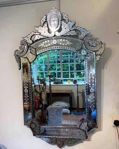 Large Engraved Venetian Mirror (1 of 4)