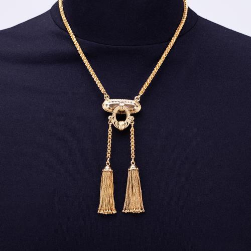 Antique Victorian Enamel 15 Carat Gold Tassel Necklace c.1860 (1 of 5)