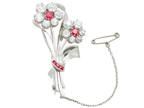 6.85 ct Diamond and 1.10 ct Ruby, Platinum Brooch - Antique and Vintage (1 of 9)