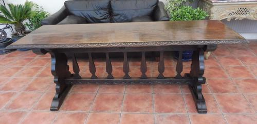 Country Oak Tefectory Table 7 foot long 1880 (1 of 10)