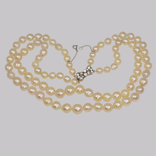 "Vintage Pearl Necklace with 9ct Gold Diamanté Bow Clasp Double Strand 15"" Long recently Restrung (1 of 11)"