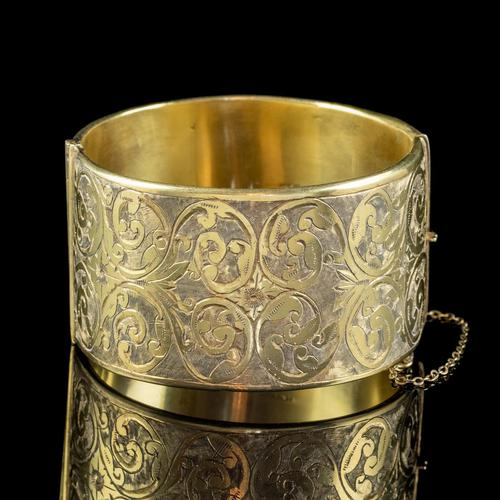 Antique Victorian Engraved Cuff Bangle Silver Gold Gilt c.1880 (1 of 5)