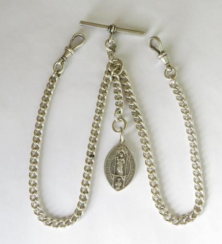 Antique Silver Double Watch Chain and Giggleswick Fob (1 of 2)