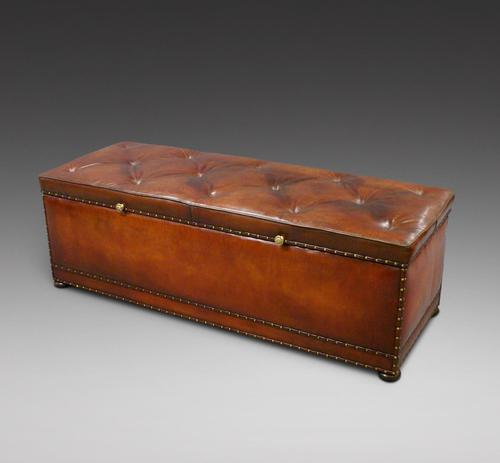 Very Large Victorian Leather Ottoman (1 of 7)