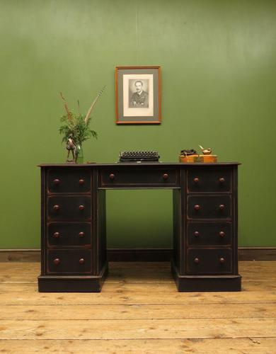 Antique Black Painted Writing Desk with Drawers (1 of 16)