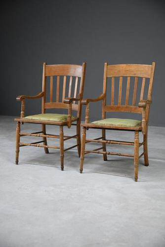 Pair Country Style Carver Chairs (1 of 12)