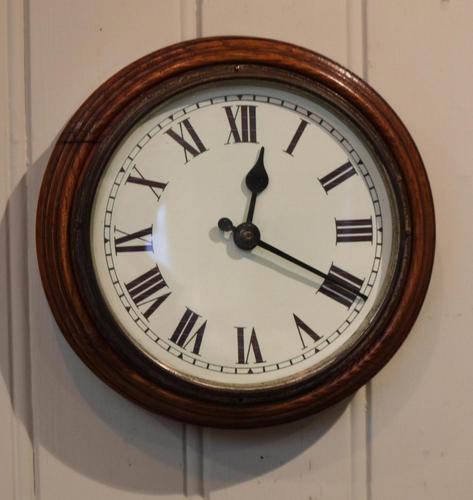 Solid Oak School Wall Clock (1 of 3)