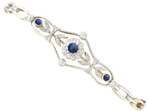 0.23ct Sapphire & 0.43ct Diamond, 18ct Yellow Gold Bracelet - Antique c.1920 (1 of 12)