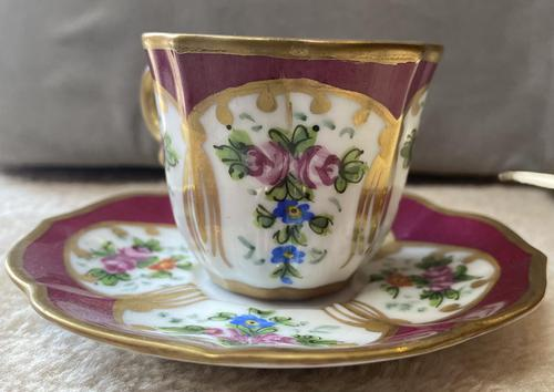 Limoges, France Hand Painted Cup & Saucer (1 of 6)