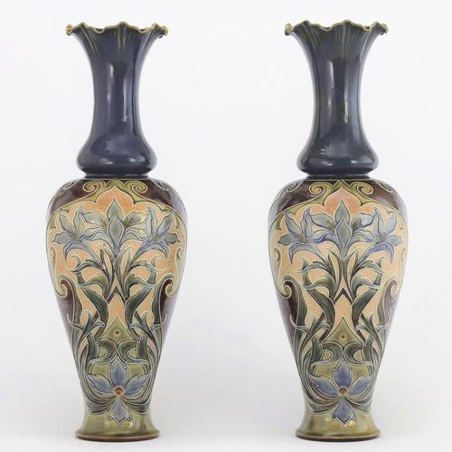 Pair of Tall Doulton Lambeth Art Nouveau Baluster Vases by Eliza Simmance c.1895 (1 of 12)