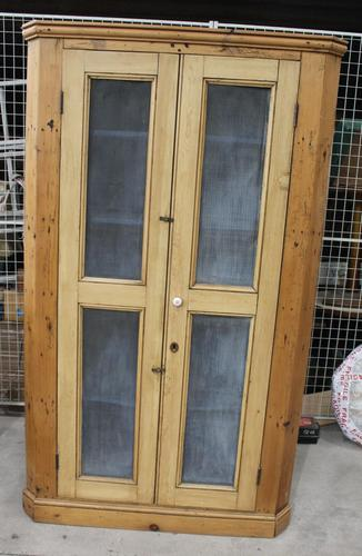 1900's Country Antique Pine Corner Cupboard with Mesh on Doors (1 of 4)