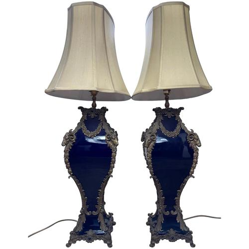 Pair of French Large Rams Heavy Bronze Blue Ceramic Table Lamps (1 of 46)