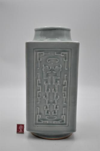 Large Chinese Celadon Cong Vase – Qing (1 of 8)