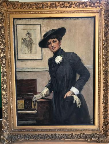 Original oil on canvas 'Mrs Enthoven' by Ethel Wright 1866-1939. Exhibited at the Royal Academy 1911. No. 498 (1 of 8)
