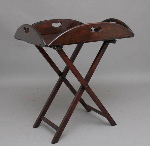 Early 20th Century mahogany folding butlers tray on stand (1 of 8)