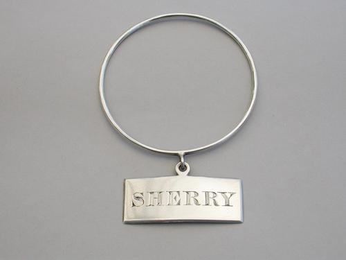 Victorian Irish Silver Neck Ring Wine Label 'Sherry' by John Smyth, Dublin, 1875 (1 of 6)