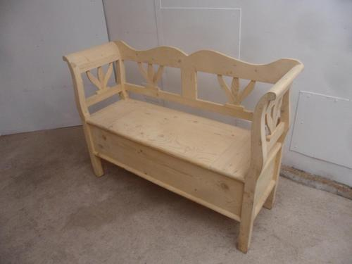 Tulip 2 Seater Antique Pine Hall / Kitchen Box / Settle / Bench to wax / paint (1 of 9)