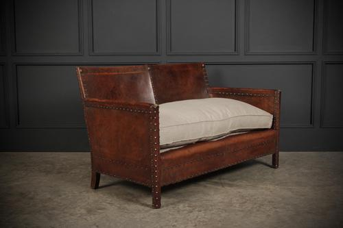 Studded Leather Club Sofa (1 of 16)