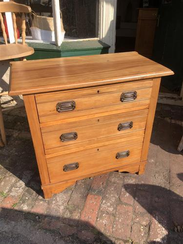 Antique Satin Walnut Three Drawer Chest of Drawers (1 of 8)