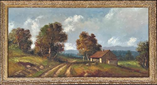 Large Fabulous Early 1900s British Farming Impressionist Landscape Oil Painting (1 of 13)