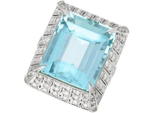 20.50 ct Aquamarine and 2.15 ct Diamond, Platinum Dress Ring - Vintage Circa 1950 (1 of 9)
