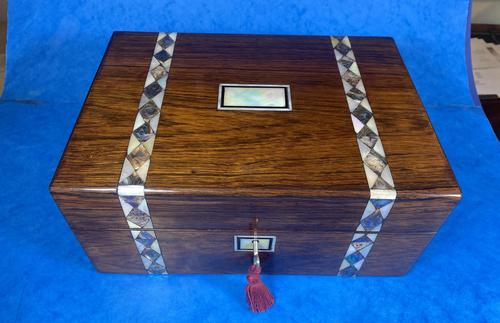 Victorian Rosewood Jewellery Box  With Inlay (1 of 15)