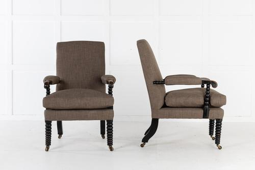 Pair of 19th Century English Regency Ebonised Bobbin Armchairs (1 of 5)