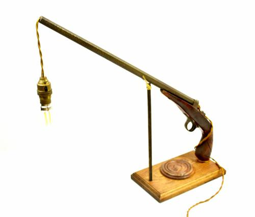 19th Century Long Hexagon Barreled Pistol Converted to a Lamp (1 of 18)