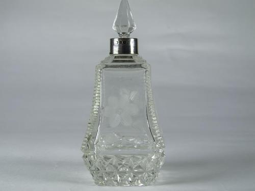 Antique Cut Glass & Silver Perfume Bottle (1 of 5)