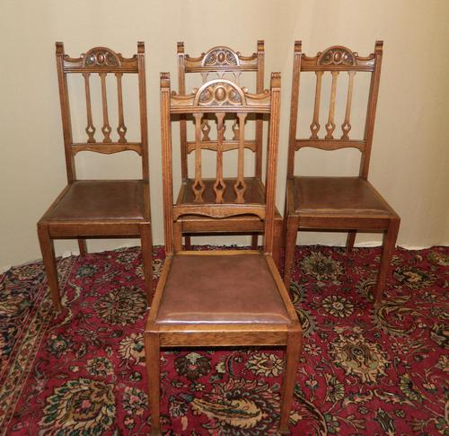 Set of 4 oak Arts & Crafts dining chairs (1 of 5)