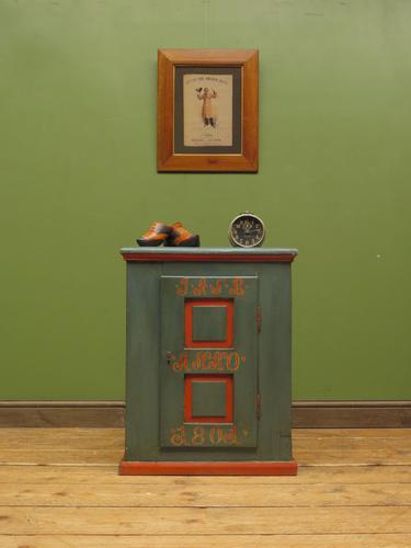 Antique Painted Swedish Cupboard with Vintage Saucy Lady Photos to the Interior (1 of 17)