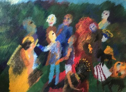 Original Pastel Painting 'A family group' (1 of 1)