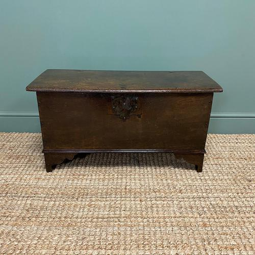 Small Period Oak Six Plank Antique Coffer (1 of 7)