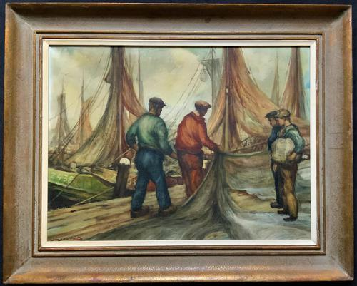 Cornish School - Large early 1900s Oil Painting of Fishermen Pulling in the Nets (1 of 14)