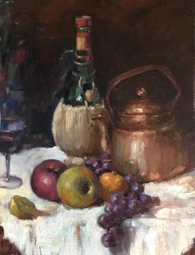 Original oil on canvas laid on to board 'Still life of bottles and fruit' attributed to Anna Airy 1882-1964. Unsigned c.1920 (1 of 2)
